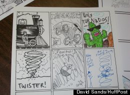 A strip from a past Comic Jam at Green Brain Comics in Dearborn. Artists take turns filling out a panel a piece. (David Sands/HuffPost).