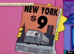 In 1997, an episode of The Simpsons aired that appeared to show a guidebook with the number 9, following by the Twin Towers, making a reference to 9/11.