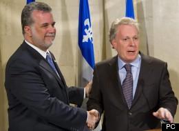 L'ex-ministre libéral Philippe Couillard et Jean Charest.