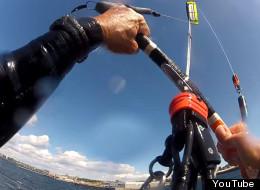 Larry Dennis recorded himself kiteboarding over the Victoria breakwater on Sept. 11, 2012. (YouTube)