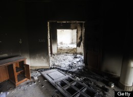 A picture shows damage inside the burnt US consulate building in Benghazi on September 13, 2012, following an attack on the building late on September 11. (GIANLUIGI GUERCIA/AFP/GettyImages)