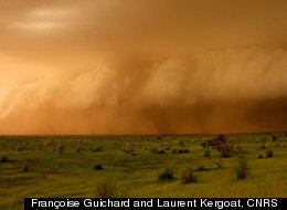 A squall line (or big thunderstorm) arrives near Hombari, Mali, in the Sahel (the transition zone between the Sahara and savanas) during the monsoon season.