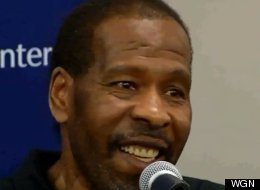 Leroy Haynes at a press conference after his successful artificial heart transplant surgery. (WGN)