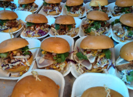 A fleet of ahi tuna burgers from Roaming Dragon food truck. (Roaming Dragon)