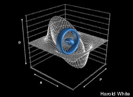 A ring-shaped warp drive device could transport a football-shape starship (center) to effective speeds faster than light. The concept was first proposed by Mexican physicist Miguel Alcubierre.
