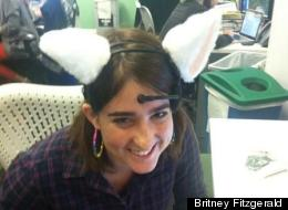 This reporter tests Necomimi in her office.