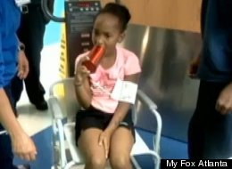 Jayla Small, 8, had to be taken to an emergency room last week when she got her tongue stuck in a water bottle.