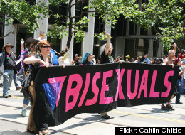 Bisexual activists marching in the 2008 San Francisco Pride Parade.