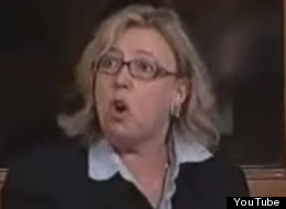 Green Party Elizabeth May took to Twitter Thursday to attack the NDP for heckling her into silence. (YouTube)