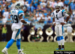 Cam Newton of the Carolina Panthers and Steve Smith #89 of the Carolina Panthers during their game against the Green Bay Packers at Bank of America Stadium on September 18, 2011 in Charlotte, North Carolina.