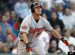 Baltimore Orioles' Jim Thome watches his ground-rule double that drove in the go-ahead run in the 12th inning of a baseball game against the Boston Red Sox in Boston, Saturday, Sept. 22, 2012.