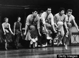 A group of young men and women in a scene from a stage production of 'West Side Story,' 1957.
