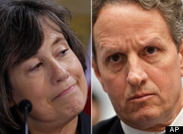 Sheila Bair criticized Treasury Secretary Timothy Geithner in an interview with the <em>Wall Street Journal</em> on Tuesday.