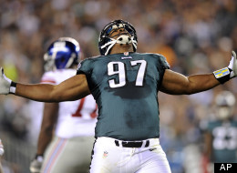 Philadelphia Eagles defensive tackle Cullen Jenkins reacts after making a tackle during the first half of an NFL football game against the New York Giants, Sunday, Sept. 30, 2012, in Philadelphia.