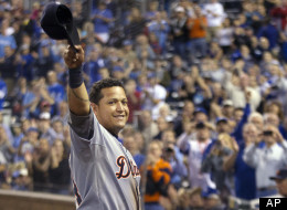 Detroit Tigers' Miguel Cabrera (24) waves to the crowd after being replaced during the fourth inning of a baseball game against the Kansas City Royals at Kauffman Stadium in Kansas City, Mo., Wednesday, Oct. 3, 2012.