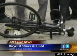 The bicyclist was killed when he was pinned under the wheels of a semi truck.