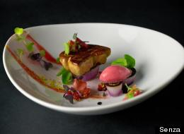 Foie gras with rhubarb, red onion, strawberry and pistachio at Senza.