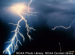 Multiple cloud-to-cloud and cloud-to-ground lightning strokes during a night-time thunderstorm. (NOAA Photo Library, NOAA Central Library; OAR/ERL/National Severe Storms Laboratory (NSSL))