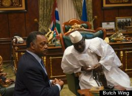 The Rev. Jesse Jackson pictured with Gambian President Yahya Jammeh.