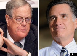 David Koch (left) and his brother, Charles, allegedly sent out pro-Romney informational packets to 50,000 employees earlier this month
