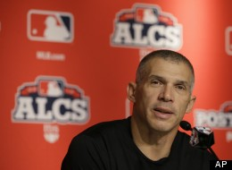 New York Yankees' manager Joe Girardi speaks at a press conference before Game 2 of the American League championship series between the Yankees and the Detroit Tigers on Sunday, Oct. 14, 2012, in New York.