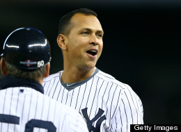 Alex Rodriguez of the New York Yankees reacts after he grounded into a fielder's choice to end the bottom of the first inning against the Detroit Tigers during Game One of the American League Championship Series at Yankee Stadium on October 13, 2012 in the Bronx borough of New York City, New York.