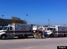 Ambulances outside Brookfield Square Mall, following a shooting on Sunday, Oct. 21, 2012, at the nearby Azana Salon and Spa. Credit James Price.