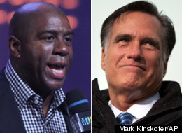 Magic Johnson is worried about how a potential Republican administration under Mitt Romney might affect the underprivileged. (MARK KINSKOFER/AP)