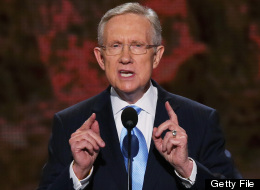CHARLOTTE, NC - SEPTEMBER 04: U.S. Senate Majority Leader Sen. Harry Reid (D-NV) speaks at the podium during day one of the Democratic National Convention at Time Warner Cable Arena on September 4, 2012 in Charlotte, North Carolina. (Photo by Alex Wong/Getty Images)