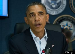 U.S. President Barack Obama speaks to the press after a briefing on Hurricane Sandy at the Federal Emergency Management Agency (FEMA) in Washington, DC on October 28, 2012. (NICHOLAS KAMM/AFP/Getty Images)