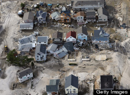 The Hurricane Sandy benefit will help East Coast residents ravaged by the storm; a photo of the devastation in New Jersey.