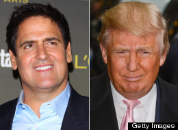 Mark Cuban (left) has offered Donald Trump $1 million to shave his head