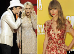 Brad Paisley and Carrie Underwood poke fun at Taylor Swift's recent breakup with Conor Kennedy at the CMAs.
