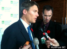Vancouver Mayor Gregor Robertson speaks to reporters on Tuesday. (Jesse Ferreras/The Huffington Post B.C.)