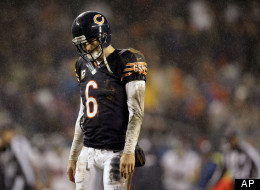 Chicago Bears quarterback Jay Cutler walks of the field after a play against the Houston Texans in the first half an NFL football game in Chicago, Sunday, Nov. 11, 2012.