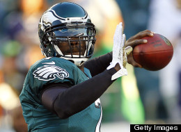 Quarterback Michael Vick #7 of the Philadelphia Eagles makes a pass during warm ups before the start of their game against the Dallas Cowboys at Lincoln Financial Field on November 11, 2012 in Philadelphia, Pennsylvania.
