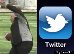 A GIF image of a Rob Ford fall at a Grey Cup media event has gone viral and prompted hilarity on Twitter. (CityNews/AP)