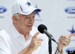 Dallas Cowboys owner Jerry Jones holds a news conference during NFL football training camp on Sunday, July 29, 2012, in Oxnard, Calif.