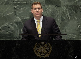 Canada's UN Ambassador John Baird addresses the United Nations General Assembly, Thursday, Nov. 29, 2012. (AP Photo/Richard Drew)
