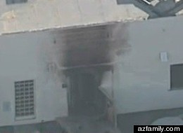 The doorway to a Social Security office in Arizona hit with a small explosion Friday morning.
