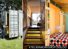 Shipping containers aren't just for shipping electronics overseas, more designers are playing with the reusable steel frames to build sustainable housing. (ATELIERWORKSHOP/ZIGLOO)