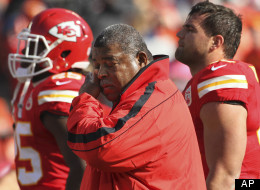 Kansas City Chiefs coach Romeo Crennel wipes his eyes before an NFL football game against the Carolina Panthers at Arrowhead Stadium in Kansas City, Mo., Sunday, Dec. 2, 2012.