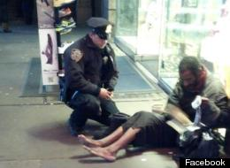 Jeffrey Hillman, New York City homeless man who got boots from Officer Larry DePrimo, is without shoes again.