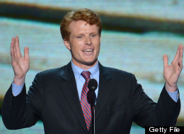 Joe Kennedy III, candidate for the US House of Representatives, Massachusetts, speaks to the audience at the Time Warner Cable Arena in Charlotte, North Carolina, on September 4, 2012 on the first day of the Democratic National Convention (DNC). (STAN HONDA/AFP/GettyImages)