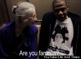 Ellen and Jay-Z meet on the New York subway.
