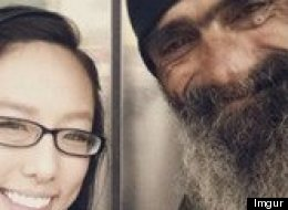 A photo posted to Imgur shows Tony, who is described as a homeless veteran, and the girl with whom he formed an unlikely friendship.