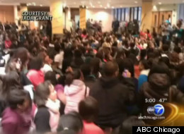 Hundreds of students packed into King College Prep's gym and foyer Thursday in a protest targeting the school's new principal.