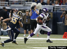 Adrian Peterson #28 of the Minnesota Vikings runs with the ball against the St. Louis Rams during the game at Edward Jones Dome on December 16, 2012 in St. Louis, Missouri. The Vikings won 36-22 as Peterson rushed for 212 yards. (Photo by Joe Robbins/Getty Images)