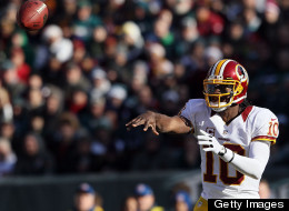 Robert Griffin III #10 of the Washington Redskins makes a pass against the Philadelphia Eagles during the first quarter at Lincoln Financial Field on December 23, 2012 in Philadelphia, Pennsylvania. (Photo by Alex Trautwig/Getty Images)