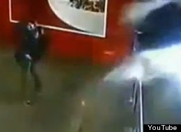 CCTV captured the moment a shark tank in a chinese mall burst.